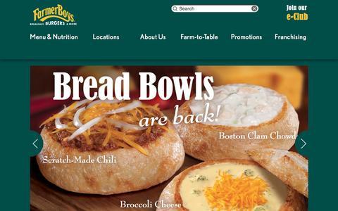 Screenshot of Home Page farmerboys.com - Farmer Boys | Breakfast, Burgers and More - captured Feb. 15, 2016
