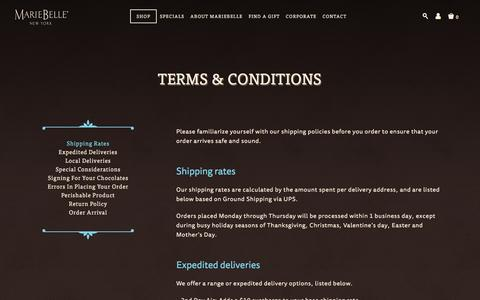 Screenshot of Terms Page mariebelle.com - Terms & conditions | MarieBelle® New York Chocolates - captured Feb. 4, 2016