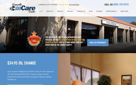 Screenshot of Home Page camarillocarcare.com - Camarillo Auto Repair | Camarillo Car Care Center - captured July 12, 2017