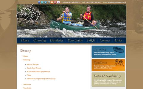 Screenshot of Site Map Page spiritofthespey.co.uk - Spirit of the Spey Sitemap - captured Oct. 9, 2014