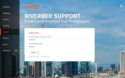 Screenshot of Support Page riverbed.com - Riverbed Support – Riverbed Help Overview | Riverbed - captured Feb. 2, 2017