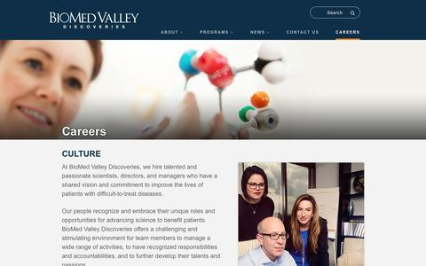 Screenshot of Jobs Page biomed-valley.com - Careers - BioMed Valley Discoveries, Inc. - captured Aug. 13, 2017