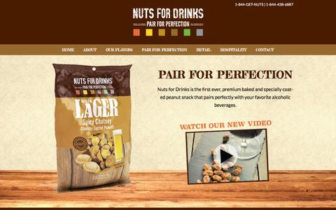 Screenshot of Home Page nutsfordrinks.com - Nuts for Drinks | Pair for Perfection - captured Jan. 11, 2016