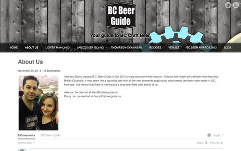 Screenshot of About Page bcbeerguide.ca - About Us  |   BC Beer Guide | Your Guide to BC Craft Beer - captured Sept. 30, 2014