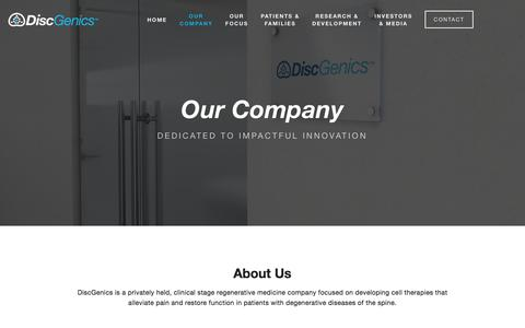 Screenshot of About Page Jobs Page Team Page discgenics.com - Our Company — DiscGenics - captured Aug. 7, 2018