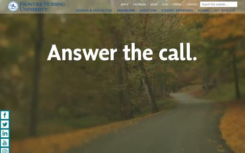 Screenshot of Home Page frontier.edu - Frontier Nursing University | Nurse Midwife | Nurse Practitioner | Family Nursing - captured Sept. 23, 2018