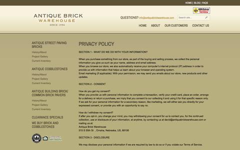 Screenshot of Privacy Page antiquebrickwarehouse.com - Privacy Policy | Antique Brick Warehouse - captured May 30, 2017