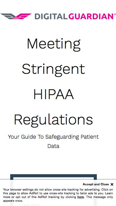 Meeting Stringent HIPAA Regulations eBook