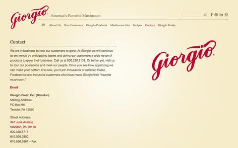 Screenshot of Contact Page giorgiofresh.com - Contact | Giorgio Fresh Mushrooms - captured Oct. 2, 2014
