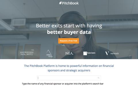 Screenshot of Landing Page pitchbook.com - Private Company Data - PitchBook - captured May 26, 2018