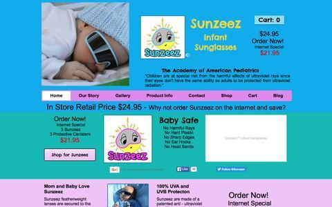 Screenshot of Home Page sunzeez.com - Sunzeez | Baby Sunglasses - captured Feb. 23, 2016