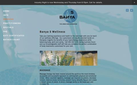 Screenshot of Services Page banya5.com - Services — Banya 5 - captured Feb. 7, 2016