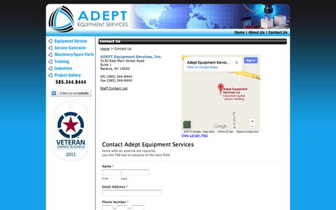 Screenshot of Contact Page adeptesi.com - Contact ADEPT Equipment Services, Rochester NY - captured Oct. 4, 2014