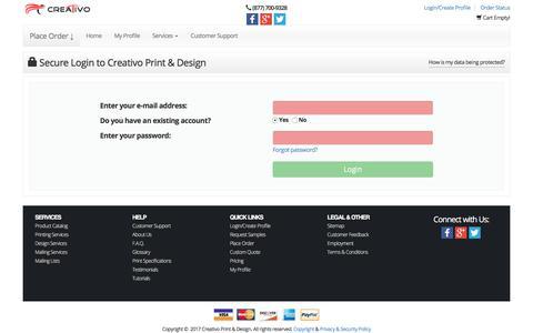 Screenshot of Pricing Page creativo-usa.com - Home Page - captured Sept. 11, 2017