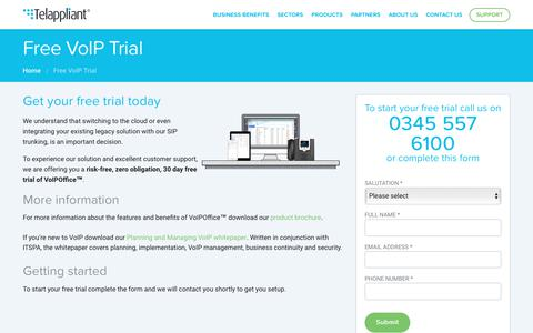 Screenshot of Trial Page telappliant.com - Start your Free VoIP trial | Telappliant - captured June 13, 2017