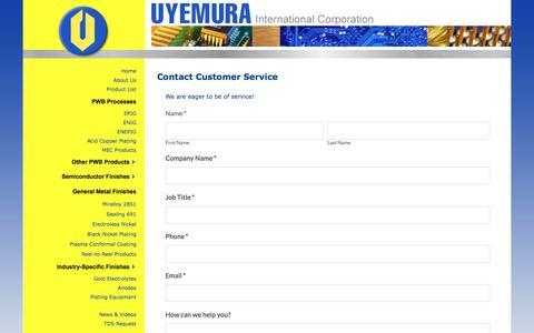 Screenshot of Support Page uyemura.com - Contact the Customer Service Team at Uyemura USA - captured June 18, 2017