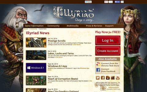 Screenshot of Press Page illyriad.co.uk - Illyriad News - captured Nov. 2, 2014