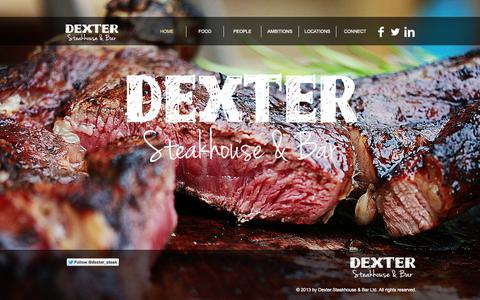 Screenshot of Home Page dextersteakhouseandbar.com - Dexter Steakhouse and Bar - captured Oct. 5, 2014