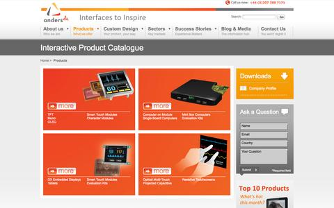 Screenshot of Products Page andersdx.com - Products - Displays, Embedded Computing & Input Technology | AndersDX.com - captured Oct. 4, 2014