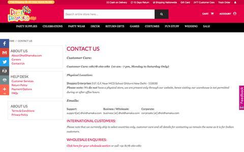 Screenshot of Contact Page dholdhamaka.com - Contact us - DholDhamaka.com - captured Sept. 23, 2018