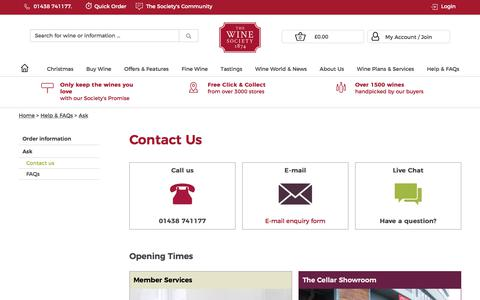 Screenshot of Contact Page thewinesociety.com - Contact us - Ask - Help & FAQs - The Wine Society - captured Oct. 24, 2017