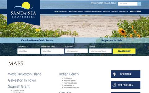 Screenshot of Maps & Directions Page sandnsea.com - Galveston, Texas Map and Directions | Sand 'N Sea Properties - captured Oct. 2, 2018