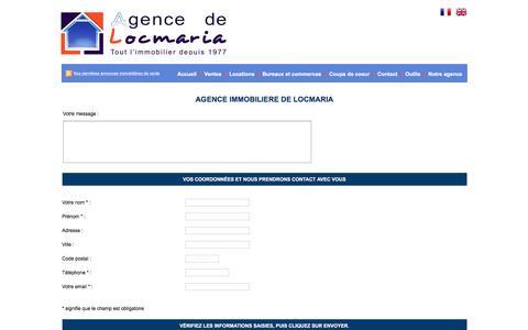 Screenshot of Contact Page agence-de-locmaria.com - Agence Immobilière Locmaria - captured June 2, 2016