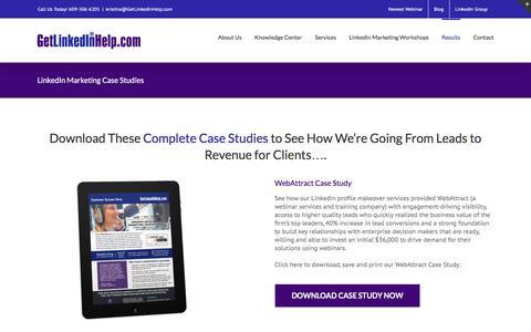 Screenshot of Case Studies Page getlinkedinhelp.com - LinkedIn Marketing Case Studies - captured July 13, 2016