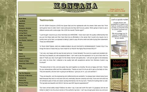 Screenshot of Testimonials Page mtlogfurniture.net - Montana Custom Log Furniture - Testimonials - Montana Custom Log Furniture - captured Oct. 26, 2014