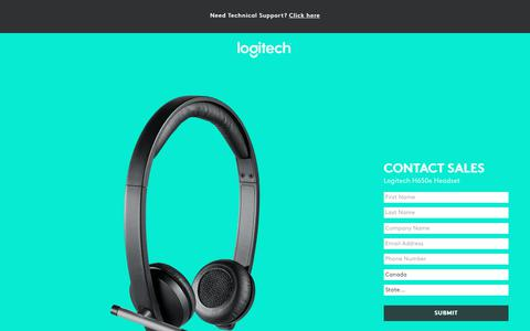 Screenshot of Landing Page logitech.com - Logitech H650e Headset | Contact Us - captured March 2, 2018