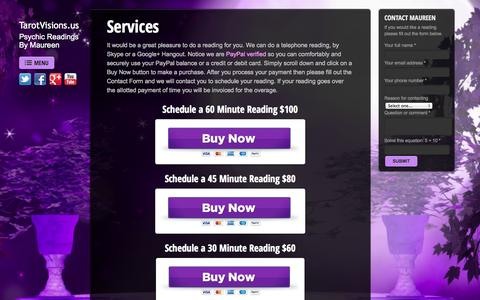 Screenshot of Services Page tarotvisions.us - Services | TarotVisions.us - captured Oct. 7, 2014