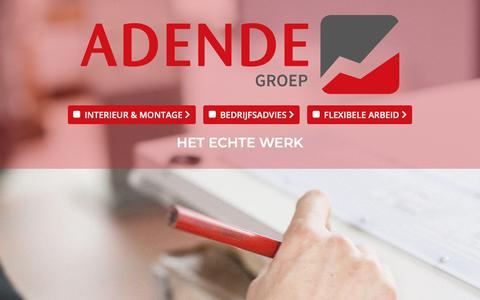 Screenshot of Home Page adende.nl - Adende Groep | Interieur en montage - Bedrijfsadvies - Flexibele arbeid - captured Oct. 3, 2018
