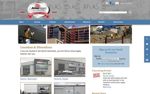 Screenshot of Locations Page atlassupply.com - Location & Directions - Atlas Supply Seattle-Tacoma, Spokane, Portland, Boise - captured May 31, 2017
