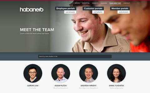 Screenshot of Team Page habaneroconsulting.com - Team Directory | Employees | Habanero Consulting Group - captured Sept. 25, 2014