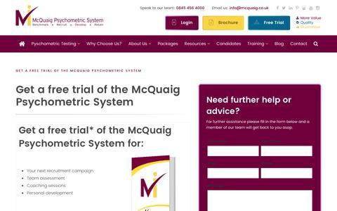 Screenshot of Trial Page mcquaig.co.uk - Get a free trial of the McQuaig Psychometric System - McQuaig Psychometric System - captured March 9, 2017
