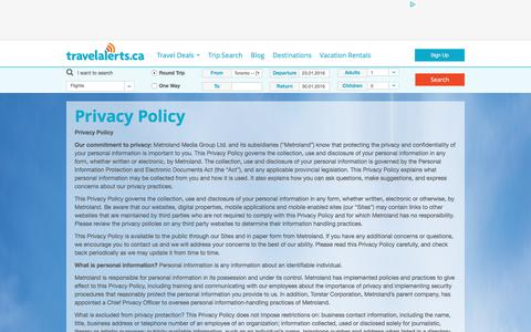 Screenshot of Privacy Page travelalerts.ca - Privacy Policy - Travelalerts - captured Jan. 16, 2016