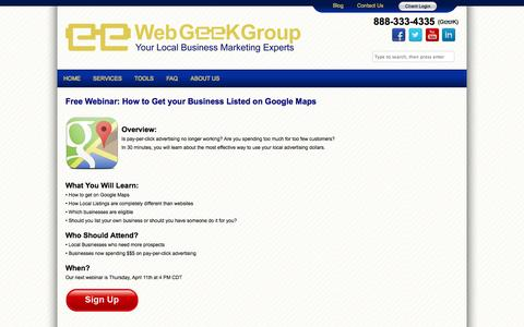 Screenshot of Maps & Directions Page webgeekgroup.com - Getting your Business Listed on Google Maps - Web Geek Group - captured Oct. 10, 2014