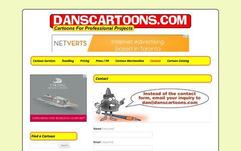 Screenshot of Contact Page danscartoons.com - Contact   CARTOONS   CUSTOM ILLUSTRATIONS - captured Oct. 5, 2014