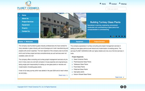 Screenshot of Home Page planetceramica.com - Industry Consulting & Glass Projects | Project Management | Batch Plants - captured July 9, 2019