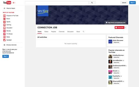 Screenshot of YouTube Page youtube.com - CONNECTION JOB  - YouTube - captured Oct. 22, 2014