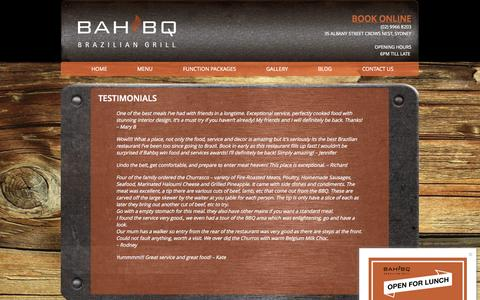 Screenshot of Testimonials Page bahbq.com.au - Testimonials | BAHBQ Brazilian Restaurant - captured Oct. 3, 2014