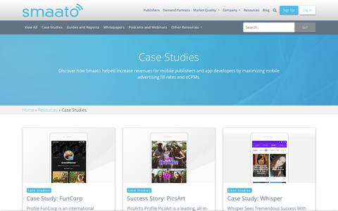 Screenshot of Case Studies Page smaato.com - Case Studies - Smaato - captured Aug. 14, 2019