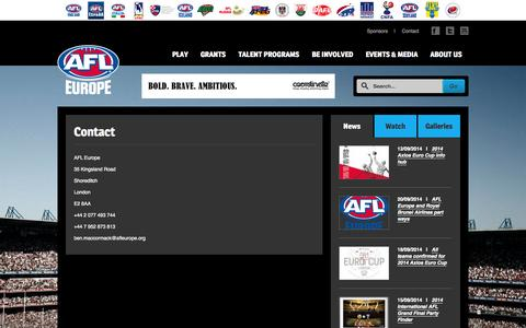 Screenshot of Contact Page afleurope.org - Contact | AFL Europe - captured Sept. 30, 2014