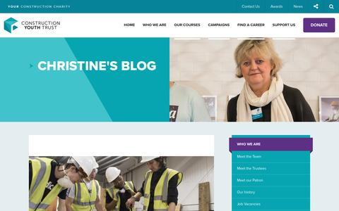Screenshot of Blog constructionyouth.org.uk - Christine's blog | Construction Youth Trust - captured Nov. 11, 2016