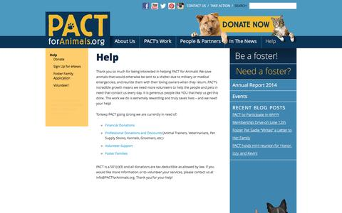 Screenshot of Signup Page pactforanimals.org - Help - PACT for Animals - captured July 9, 2016