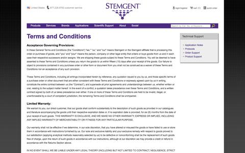 Screenshot of Terms Page stemgent.com - Stemgent Terms and Conditions - Stemgent Inc. - captured May 21, 2017