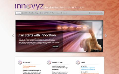 Screenshot of Home Page Privacy Page innovyz.com - Innovyz | Accelerating Return on Innovation - captured Sept. 30, 2014