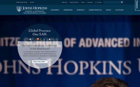 Screenshot of Home Page Locations Page sais-jhu.edu - Johns Hopkins School of Advanced International Studies - SAIS - captured Sept. 23, 2014
