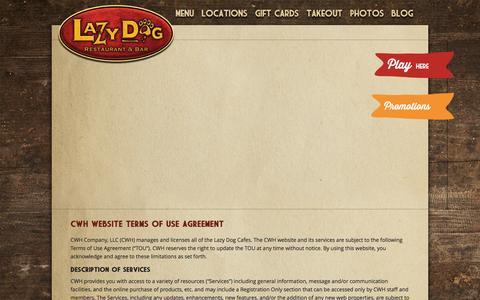 Screenshot of Terms Page lazydogrestaurants.com - Lazy Dog Restaurant & Bar Terms and Conditions - captured Nov. 13, 2015