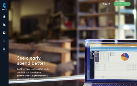Screenshot of Home Page getcake.com - Performance Marketing Software | CAKE - captured Aug. 28, 2015